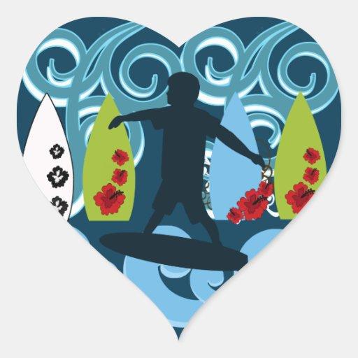 Diseño del océano de la playa del tipo fresco de pegatina en forma de corazón