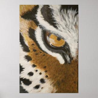 Diseño del ojo de tigre pintado artístico póster