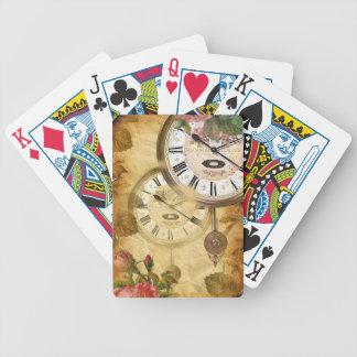 Diseño del origen de los relojes de pared del vint baraja cartas de poker