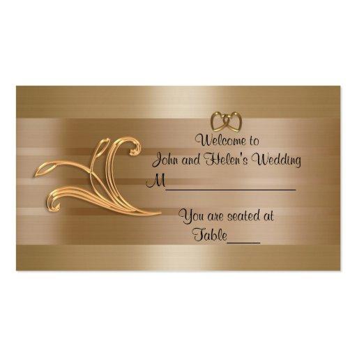 Diseño del oro de la tarjeta del lugar del boda plantillas de tarjetas de visita