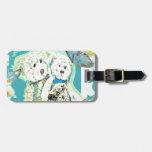 Diseño del oso de peluche azul y verde etiquetas maleta