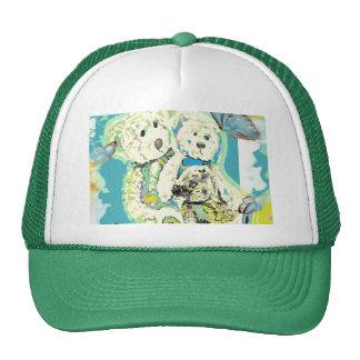 Diseño del oso de peluche azul y verde gorros