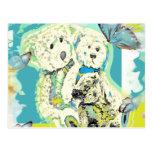 Diseño del oso de peluche azul y verde postal