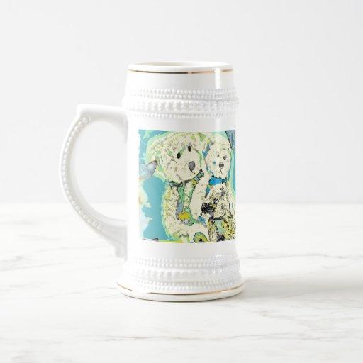 Diseño del oso de peluche azul y verde tazas de café