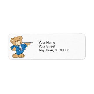 diseño del oso de peluche del camarero etiquetas de remite