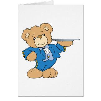 diseño del oso de peluche del camarero felicitacion