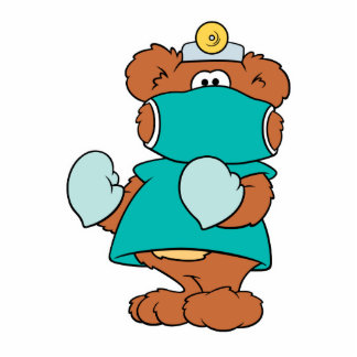 diseño del oso de peluche del doctor del cirujano fotoescultura vertical