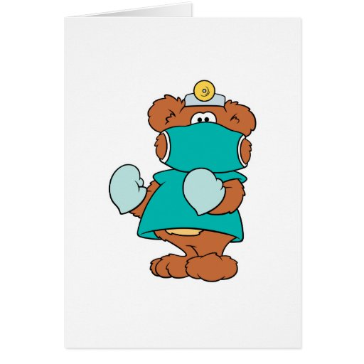 diseño del oso de peluche del doctor del cirujano tarjeta de felicitación