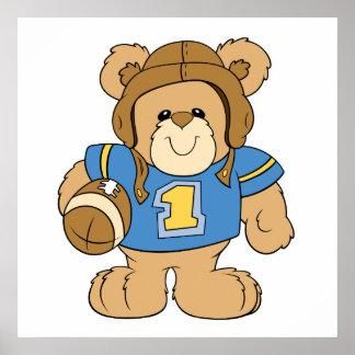 Diseño del oso de peluche del fútbol póster