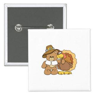 diseño del oso de peluche del pavo de la acción de pin cuadrado
