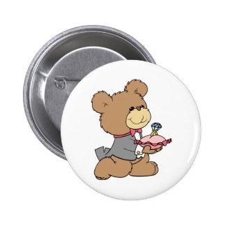 diseño del oso de peluche del portador de la ofert pin redondo de 2 pulgadas