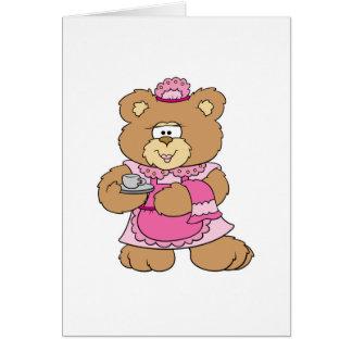 diseño del oso de peluche del tiempo del té tarjetón