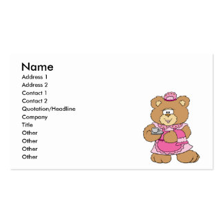 diseño del oso de peluche del tiempo del té plantilla de tarjeta personal