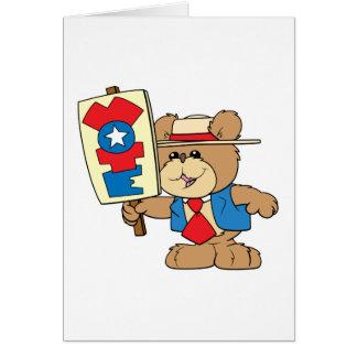 diseño del oso de peluche del VOTO de la elección Tarjeta De Felicitación