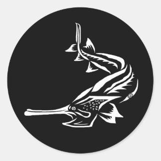 Diseño del Paddlefish y del Rostrum Pegatina Redonda