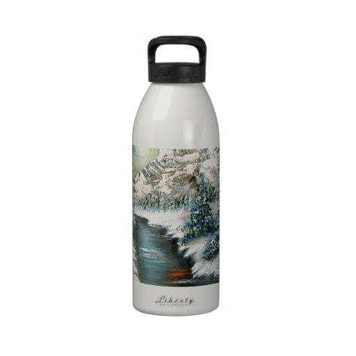 Diseño del paisaje del invierno botellas de agua reutilizables