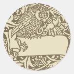 Diseño del pájaro de Nouveau del arte del búho del Pegatina Redonda