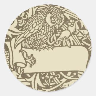 Diseño del pájaro de Nouveau del arte del búho del Etiquetas Redondas