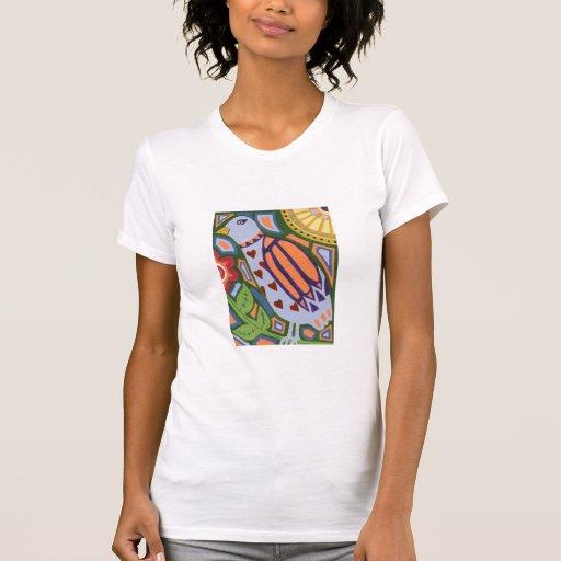Diseño del pájaro del estilo del arte popular camiseta