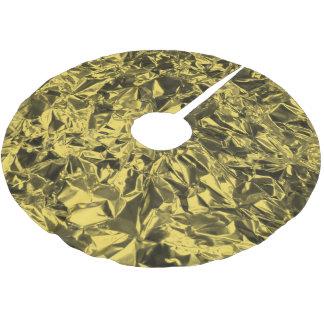 Diseño del papel de aluminio en amarillo de oro falda para arbol de navidad de poliéster