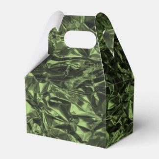 Diseño del papel de aluminio en verde de musgo cajas para regalos de boda