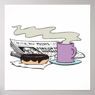diseño del papel del buñuelo y del periódico del c póster