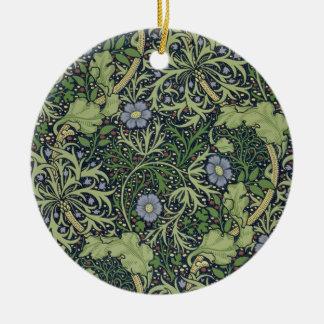 Diseño del papel pintado de la alga marina, adorno navideño redondo de cerámica