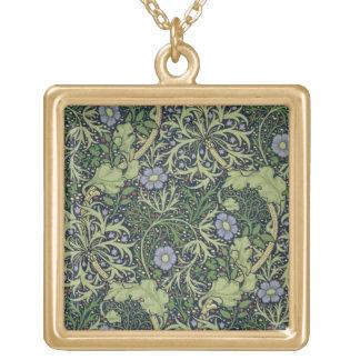 Diseño del papel pintado de la alga marina, impres collar dorado