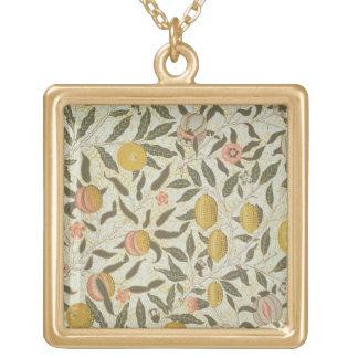 Diseño del papel pintado de la fruta o de la grana collar dorado