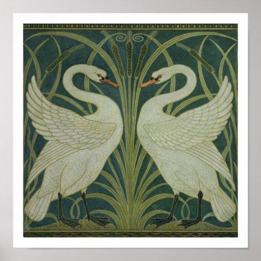 """Diseño del papel pintado del """"cisne, de la precipi póster"""