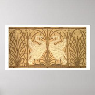 Diseño del papel pintado del cisne póster