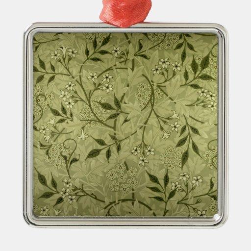 """Diseño del papel pintado del """"jazmín"""", 1872 adorno navideño cuadrado de metal"""