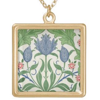 Diseño del papel pintado floral collar dorado