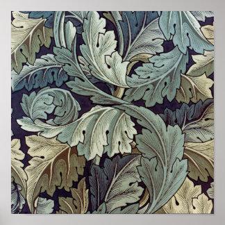 Diseño del papel pintado floral del Acanthus de Wi Poster