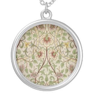 Diseño del papel pintado floral del vintage - collar plateado