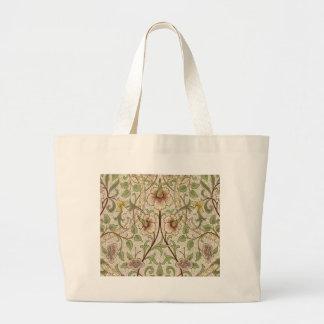 Diseño del papel pintado floral del vintage - narc bolsa tela grande