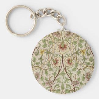 Diseño del papel pintado floral del vintage - narc llavero redondo tipo pin