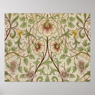 Diseño del papel pintado floral del vintage - narc póster
