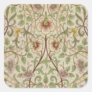 Diseño del papel pintado floral del vintage - pegatina cuadrada