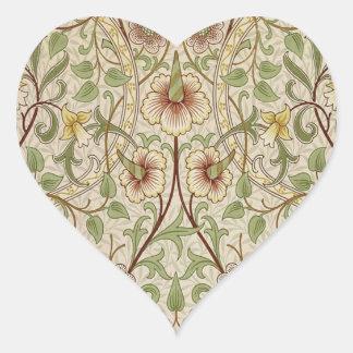 Diseño del papel pintado floral del vintage - pegatina en forma de corazón