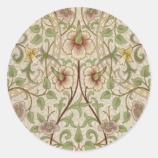 Diseño del papel pintado floral del vintage - pegatina redonda