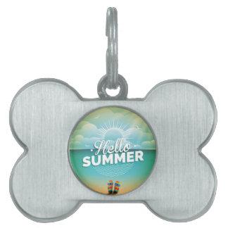 Diseño del paraíso del verano con flips-flopes placas de mascota