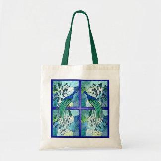 Diseño del pavo real bolsas lienzo