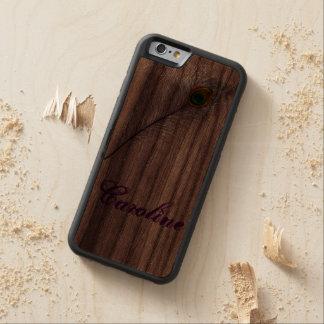 diseño del pavo real del caso del iPhone 5 de la Funda De iPhone 6 Bumper Nogal