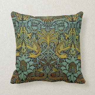 Diseño del pavo real y de la tapicería de William Almohadas