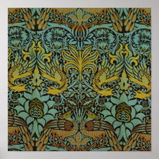 Diseño del pavo real y de la tapicería de William Póster