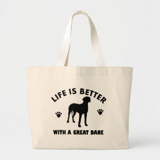 Diseño del perro de great dane bolsa de tela grande