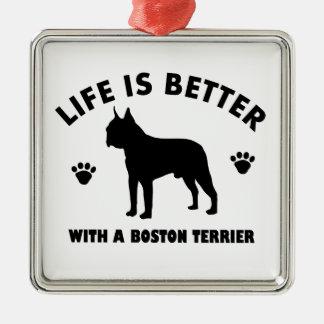 Diseño del perro del terrier de Boston Adorno Navideño Cuadrado De Metal