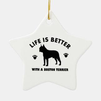 Diseño del perro del terrier de Boston Adorno Navideño De Cerámica En Forma De Estrella