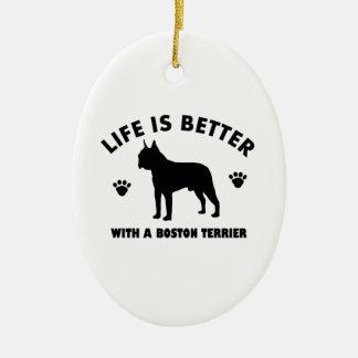 Diseño del perro del terrier de Boston Adorno Navideño Ovalado De Cerámica